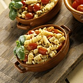 Pasta Salad with Pesto and Grape Tomatoes, Basil Garnish