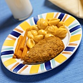 Breaded Chicken Tender with Creamy Macaroni and Cheese Shells and Carrot Sticks