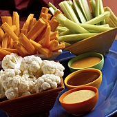 Cauliflower, Carrot and Celery Sticks with Three Salad Dressing Dips