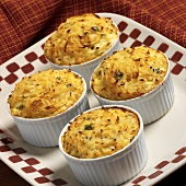Four Potato Cheese and Green Onion Casseroles in Ramekins