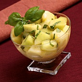 Honeydew Fruit Cup with Fresh Basil and a Tequila Lime Dressing