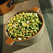 Succotash with Edamame, Lima Beans, Corn and Onion in a Pot