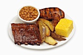 Barbecue Combo Dinner, Spare Ribs, Chicken, Fries, Corn Bread and Baked Beans