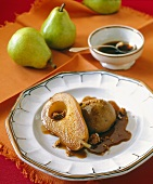 Poached Pear with Amaretti Sauce