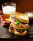 Goat's cheese, beetroot and rocket sandwich