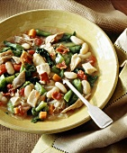 Vegetable stew with turkey and bacon