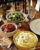 3 side dishes: mashed potato, Brussels sprouts, cranberry relish