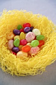 Easter Candy Nest, Birds Nest Full of Jelly Beans and Candy Eggs