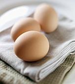 Three Brown Eggs on a White Kitchen Towel
