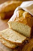 Lemon bread, partly sliced
