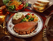 Prime Rib with Baked Potato and Mixed Vegetables