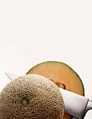 Durchgeschnittene Cantaloupemelone