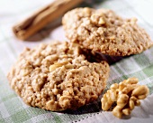 Two oat and nut biscuits