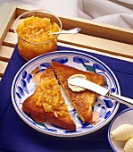 Breakfast Tray with Toast, Butter, Butter Knife, and Marmalade