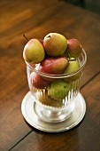 Ripe pears in glass bowl