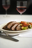 Sliced Pot Roast with Mixed Vegetables and Red Wine