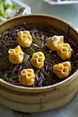 Asian Dumplings in a Bamboo Steamer