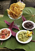 Crisps with various dips on banana leaf