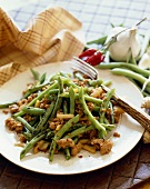Green Bean and Ground Chicken Salad on a White Plate with a Fork