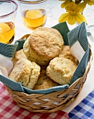 Towel Lined Basket of Herbed Biscuits