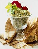 Tabouleh Salad in a Pedestal Bowl with Loaf of Crusty Bread