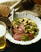 Corned Beef and Cabbage with Brown Bread and Beer