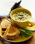Pea Soup with Mushrooms and Grilled Ham and a Cheese Sandwich