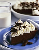 Slice of Chocolate Pie with Whipped Cream and Chocolate Shavings; Glass of Milk