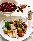 Roast Turkey Dinner Plate; Cranberry Sauce and Glass of Wine