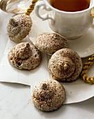 Mocha Meringue Cookies with a Cup of Tea