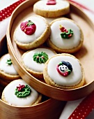 Decorated Holiday Cookies in Wooden Container