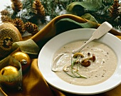 Bowl of Cream of Mushroom Soup with Holiday Decorations