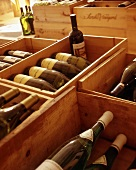 Many wine bottles in wooden boxes