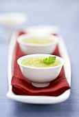 Pea soup in three bowls