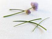 Fresh chives, two with flowers