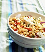 Chick-pea salad with feta in bowl