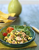 Avocado and sweetcorn salad with shrimps