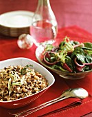 Rice salad with beans and green salad