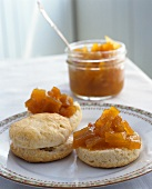 Scones with pumpkin chutney