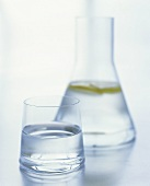 Water in glass and carafe