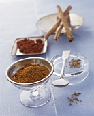 Spices: cinnamon, fennel seed and grated nutmeg