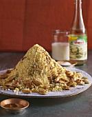 Couscous with almonds, raisins & orange flower water (Morocco)