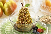 Pistachio Coated Pear in a Bowl, Fresh Berries