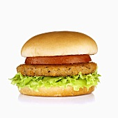 Breaded Tuna Burger with Lettuce and Tomato on a White Background
