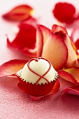 White Chocolate Truffle on a Rose Petal, Rose Petals