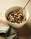 Chocolate Chip Cookie Dough in a Mixing Bowl, Wooden Spoon