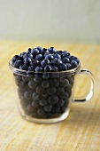 Fresh Blueberries in a Glass Pitcher