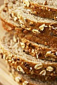 Close Up of Stacked Multi-Grain Bread Slices