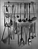 Kitchen Utensils Hanging from a Rack
