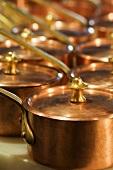 Copper Saucepans with Lids